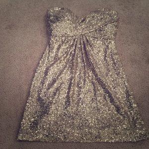 Alfred Angelo total gold sequins halter dress